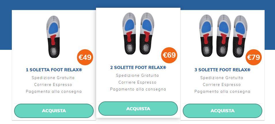 foot relax prezzo plantari orotpedici