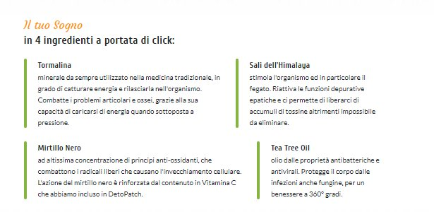 deto patch ingredienti